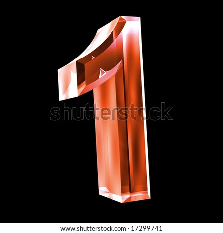 3d number 1 in red glass - stock photo