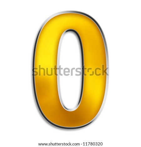 3d number 0 in shiny yellow gold isolated on white series, complete series available in my port along with other styles of numbers - stock photo
