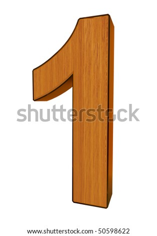 3d number 1 made of wood and cooper - stock photo