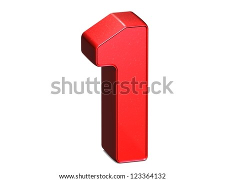3D Number One on white background - stock photo