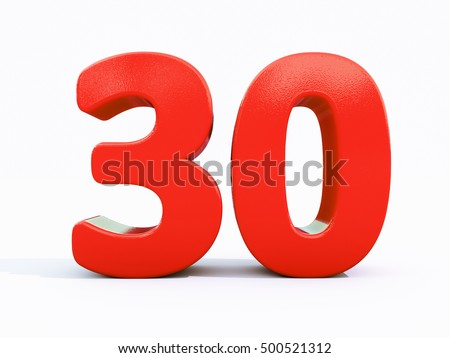 3d Number Thirty, 30 Greeting Card, 3d Number, The Volume Figure 30 Years. 30 Years Anniversary  Red Logo, Template Logo 30th Anniversary, Red Number Thirty on White Background