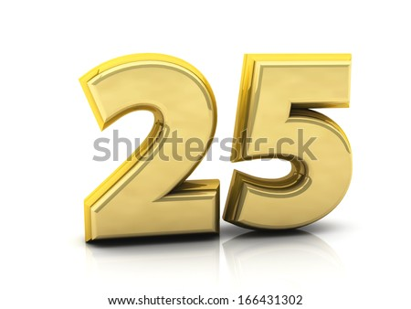 3d number twenty five in gold   - stock photo