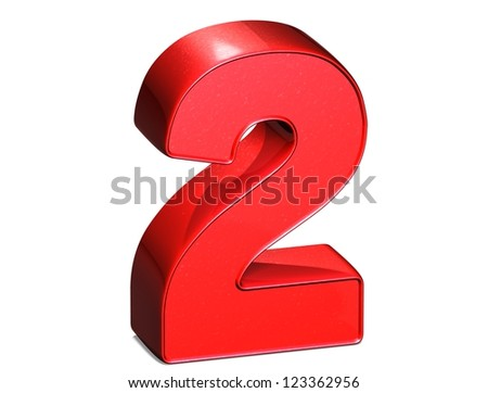 3D Number Two on white background - stock photo