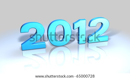 2012, 3D numbers in blue plastic on reflective surface