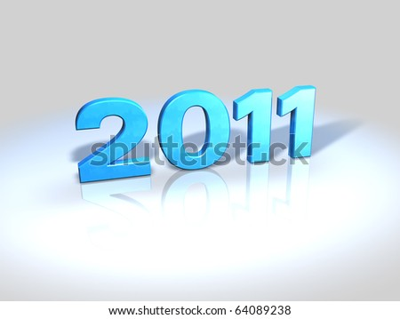 2011, 3D numbers in blue shiny plastic on reflective surface