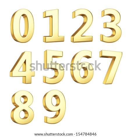 3D numbers isolated with clipping path on white - stock photo