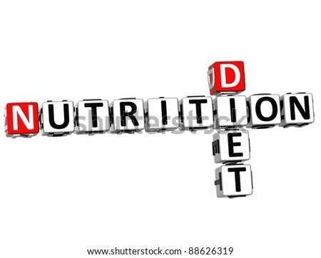 3D Nutrition Diet Crossword on white background