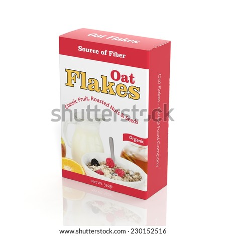 3D Oat Flakes paper package isolated on white - stock photo