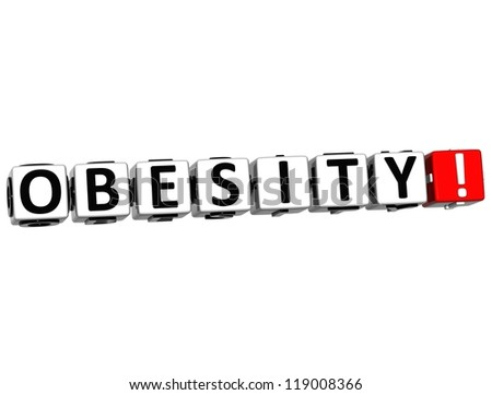 3D Obesity Button Click Here Block Text over white background - stock photo