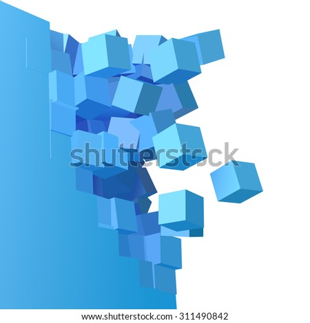 3D object explosion background with cubical particles - stock photo