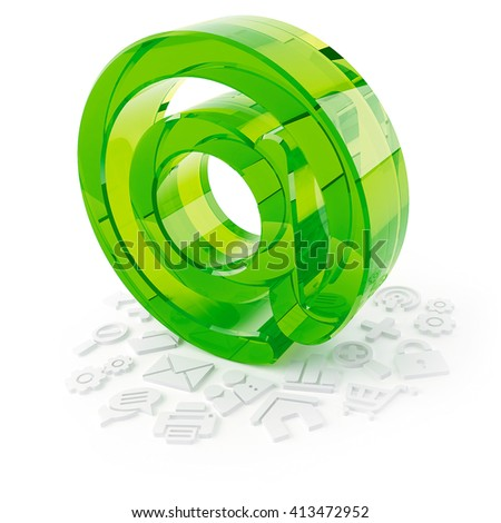 3D object from the glass on a white, commercial at - stock photo