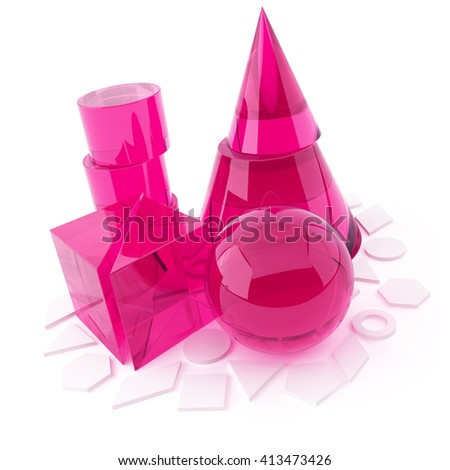 3D object from the glass on a white, geometric figures - stock photo