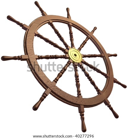 3d of a traditional ships wheel on a white background
