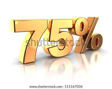 3d of golden 75 percent isolated on a white background