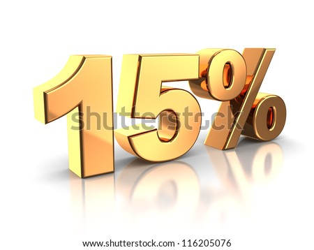 3d of golden 15 percent isolated on a white background