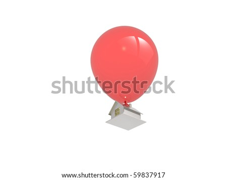 3d of red balloon and a house on isolated background