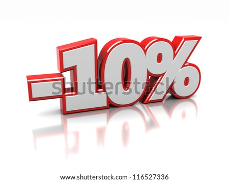 3d of ten percent isolated on a white background - stock photo