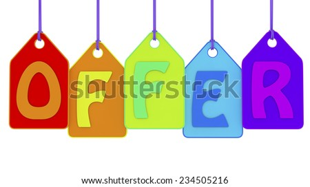 3d offer text on colored labels.  - stock photo