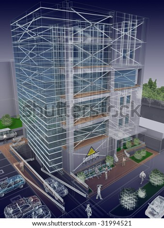 3D office building blueprint - stock photo