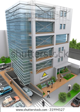 3D office building concept - stock photo