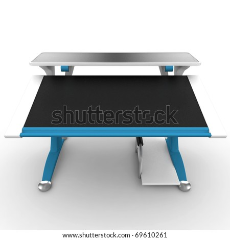3d office desk isolated on white - stock photo
