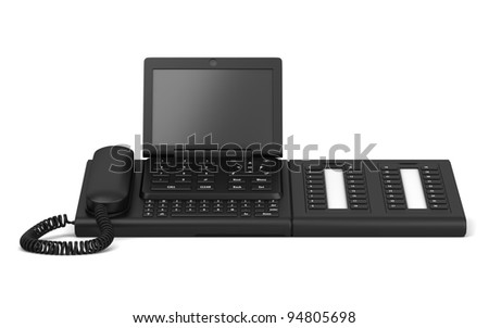 3d office desk phone isolated on white background