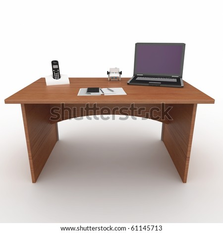 3d office desk with laptop isolated on white - stock photo