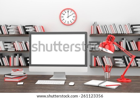 3d Office workplace - stock photo