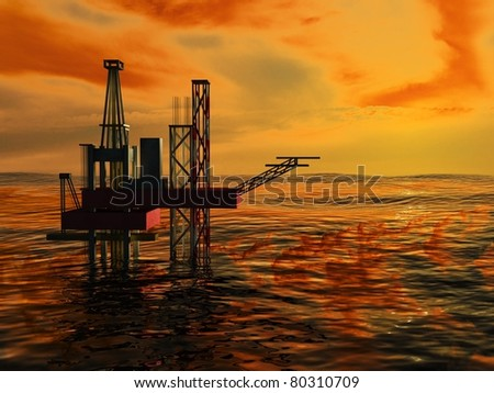 3d Oil Rig Silhouette, Ocean and Sunset, Orange Sky - stock photo