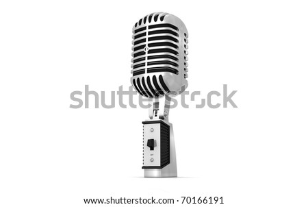 3d old microphone on a white background