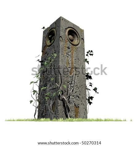 3d old speaker sound system deejay jungle woofer DJ - stock photo