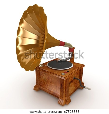 3d old vintage gramophone isolated on white