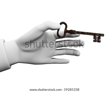 3d. On a white background in his hand the key of the house. - stock photo