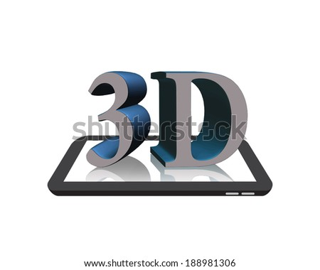 3D on the Digital Tablet isolated on White - stock photo