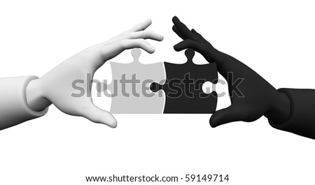 3d. On the white background of the two hands white and black, in the hands of puzzles - symbolizing the business partnership. - stock photo