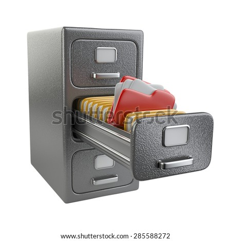 3d open document cabinet for files isolated on white background image - stock photo