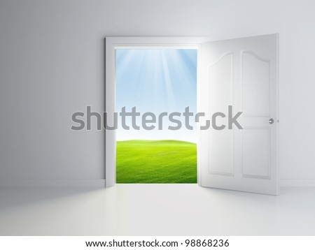 3d open door in empty room, landscape view - stock photo
