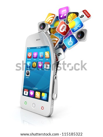 3d open smartphone with cloud of application icons, isolated white background, 3d image - stock photo