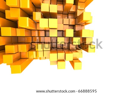 3D Orange Blocks Abstract Background - stock photo