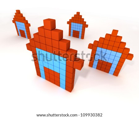 3d orange buildings like computer icon