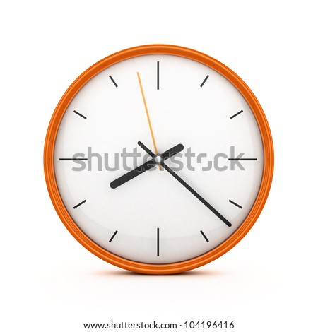 3D Orange clock isolated - stock photo