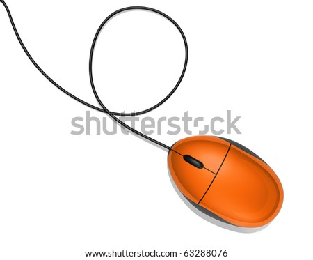 3D orange computer mouse isolated on white - stock photo