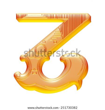 3D Orange Floral Alphabet - Z - stock photo