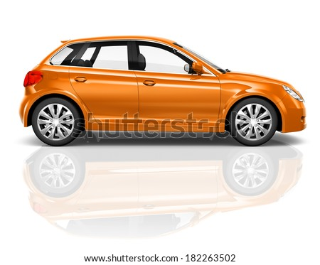 3D Orange Hatchback Car - stock photo