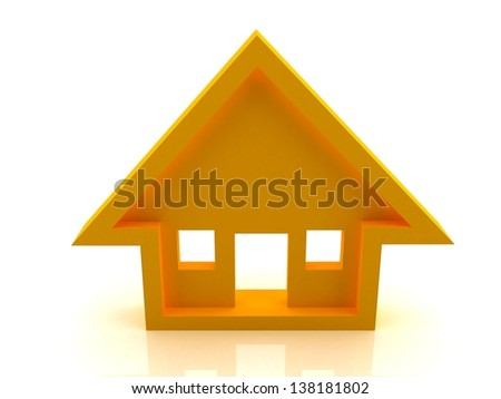 3D Orange Home Illustration/Icon in a white background. - stock photo