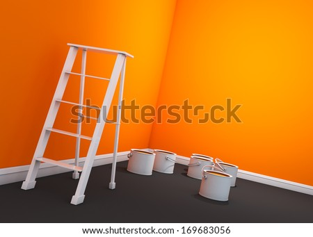 3d orange mix yellow wall painting, ladder, paint cans  - stock photo