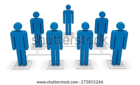 3D. Organization, Communication, Computer Network. - stock photo