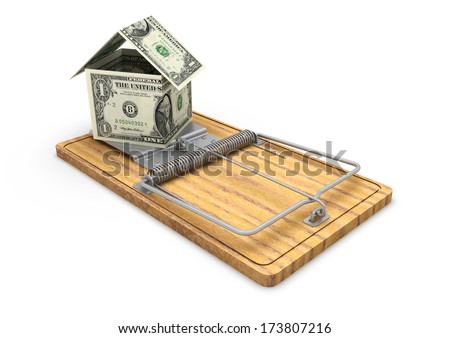 3d origami house made with american dollars placed on mousetrap money isolated in white background