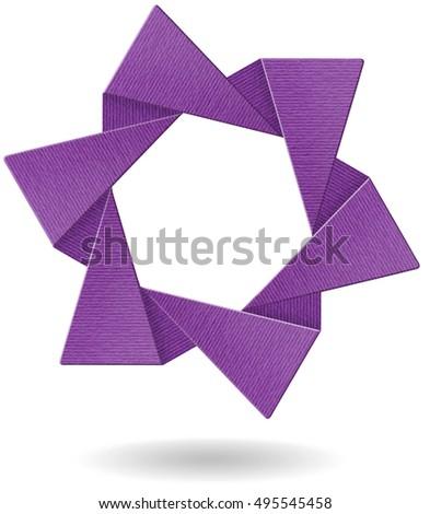 3 D Origami Modern Icon Violet Star Stock Illustration 495545458