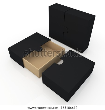 3d original brown and black container for garments products, leather products, clothes, or accessories  blank template and wedge option in isolated background with work paths, clipping paths included  - stock photo